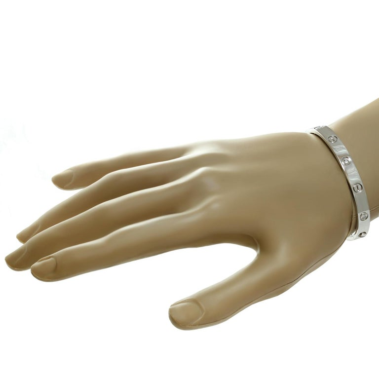 Women's Cartier Love 6 Diamond Gold Bangle Bracelet. Size 16 For Sale