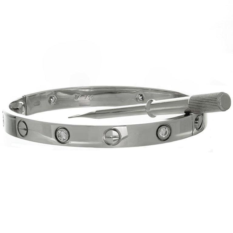 Cartier Love 6 Diamond Gold Bangle Bracelet. Size 16 For Sale 1