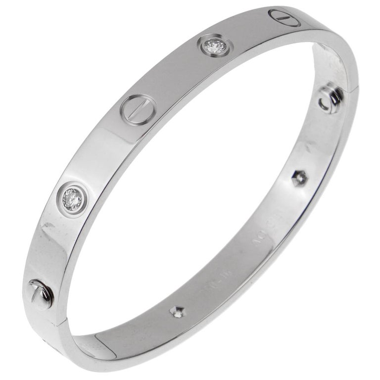 Women's Cartier Love 6 Diamond White Gold Bangle Bracelet For Sale