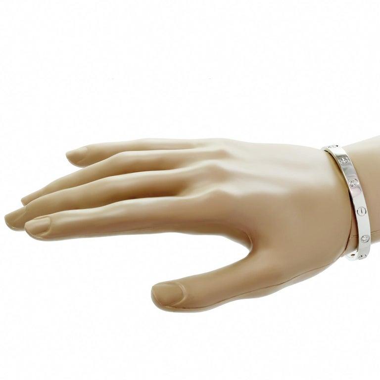 Brilliant Cut Cartier Love 6 Diamond White Gold Bracelet Pouch Papers For Sale