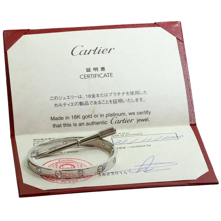 Men's Cartier Love 6 Diamond White Gold Bracelet Pouch Papers For Sale