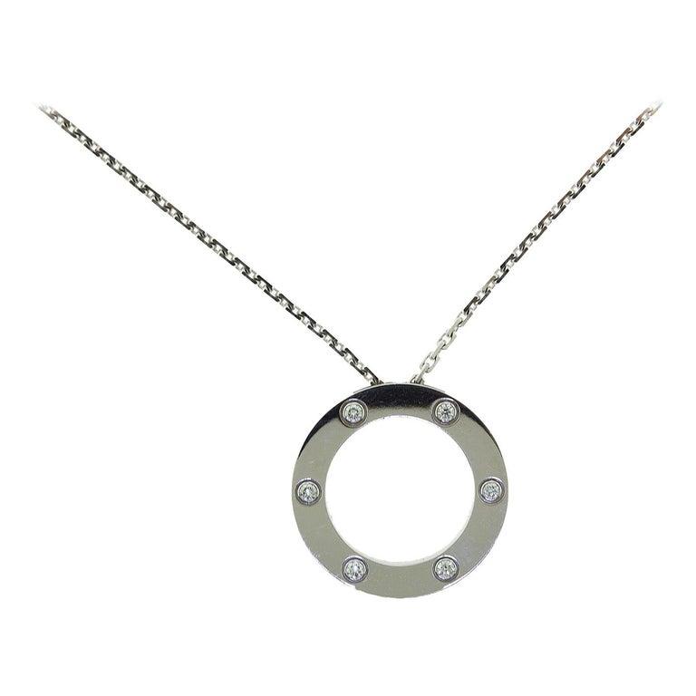 Cartier Love 6 Diamonds Round Pendant Necklace in 18 Karat White Gold For Sale