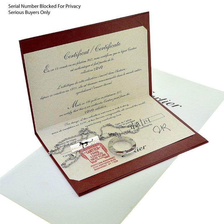 Cartier Love 6 Diamonds Round Pendant Necklace in 18 Karat White Gold In Good Condition For Sale In Miami, FL