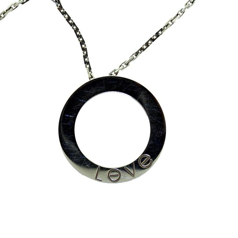 Cartier Love 6 Diamonds Round Pendant Necklace in 18 Karat White Gold For Sale 1
