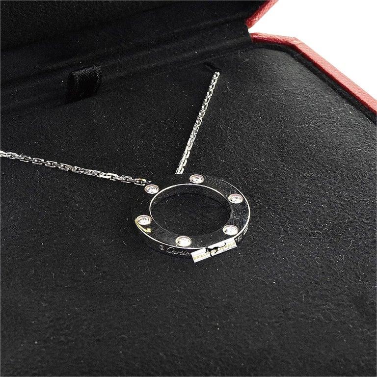 Cartier Love 6 Diamonds Round Pendant Necklace in 18 Karat White Gold For Sale 2
