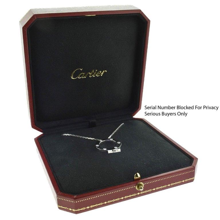 Cartier Love 6 Diamonds Round Pendant Necklace in 18 Karat White Gold For Sale 3