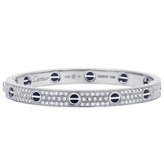 Cartier Love All Diamond and Ceramic White Gold Bangle Bracelet