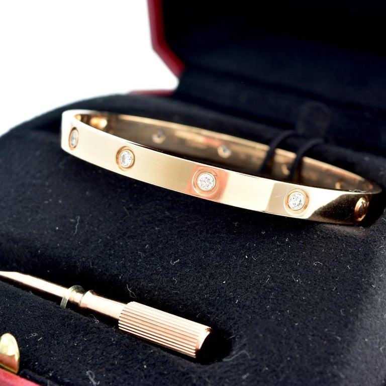 Round Cut Cartier Love Bangle 10 Diamond Rose Gold 'C-428' For Sale