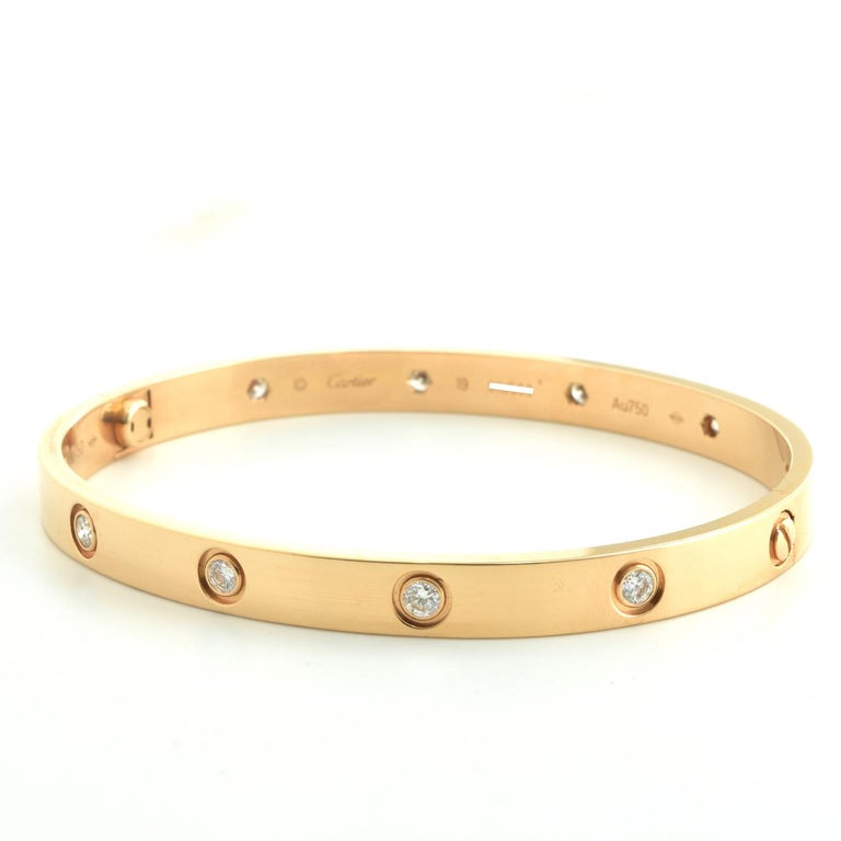 Cartier Love Bangle 10 Diamond Rose Gold 'C-428' In Excellent Condition For Sale In Miami, FL