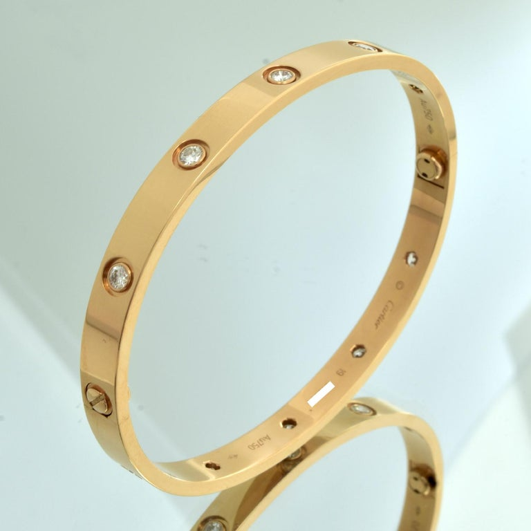 Cartier Love Bangle 10 Diamond Rose Gold 'C-428' For Sale 1