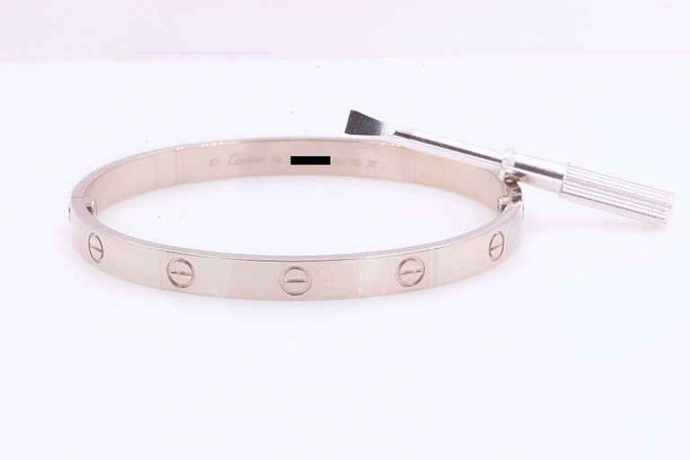 Cartier Love Bangle Bracelet 18 Karat White Gold COA Box New Style Receipt For Sale 9