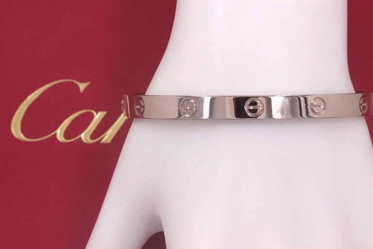 Cartier Love Bangle Bracelet 18 Karat White Gold COA Box New Style Receipt For Sale 12