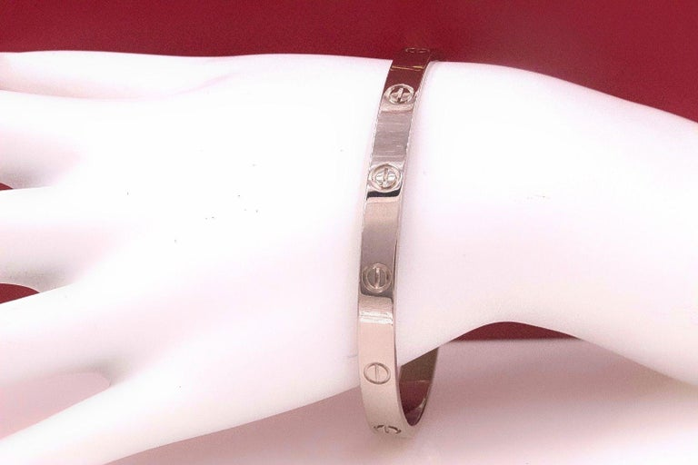 Women's or Men's Cartier Love Bangle Bracelet 18 Karat White Gold COA Box New Style Receipt For Sale