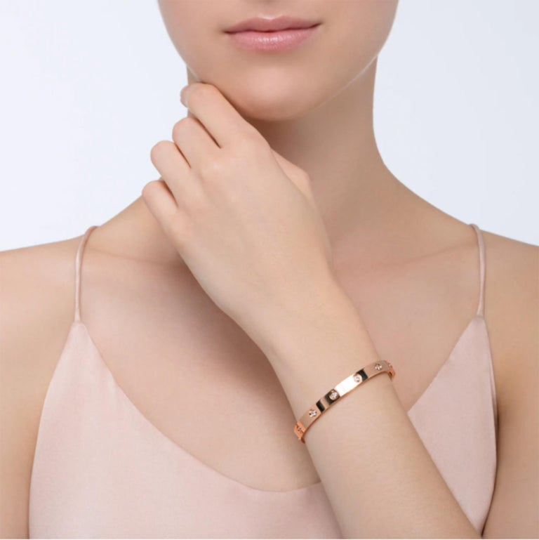 Cartier Love Bracelet 10 Diamond in 18 Karat Rose Gold In Excellent Condition For Sale In Miami, FL