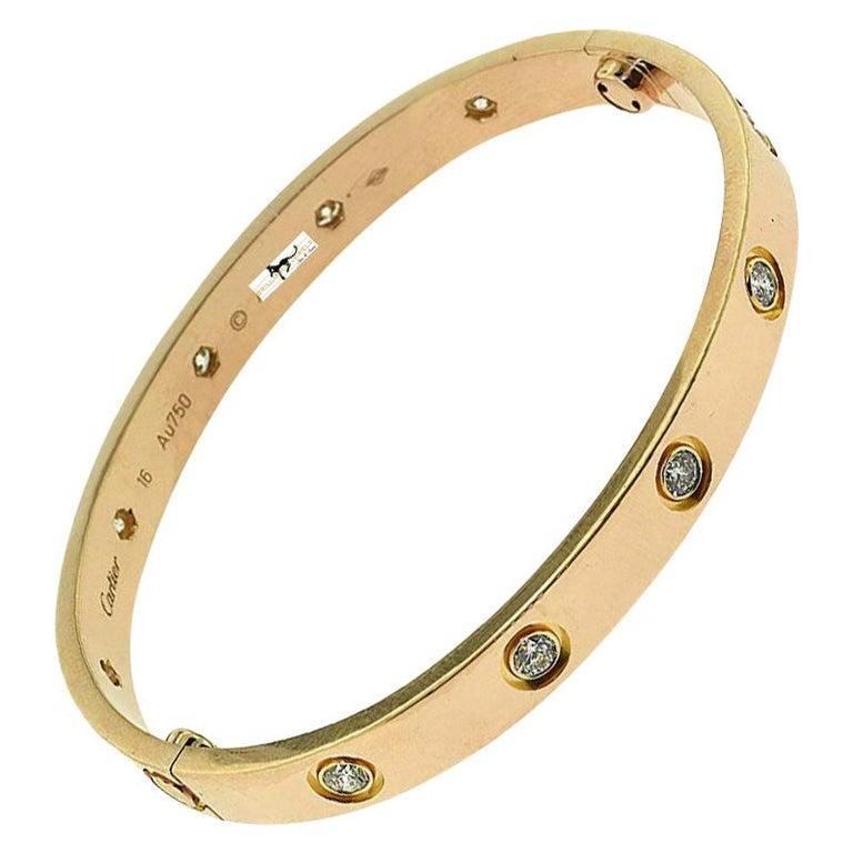 Cartier Love Bracelet 10 Diamond in 18 Karat Rose Gold For Sale