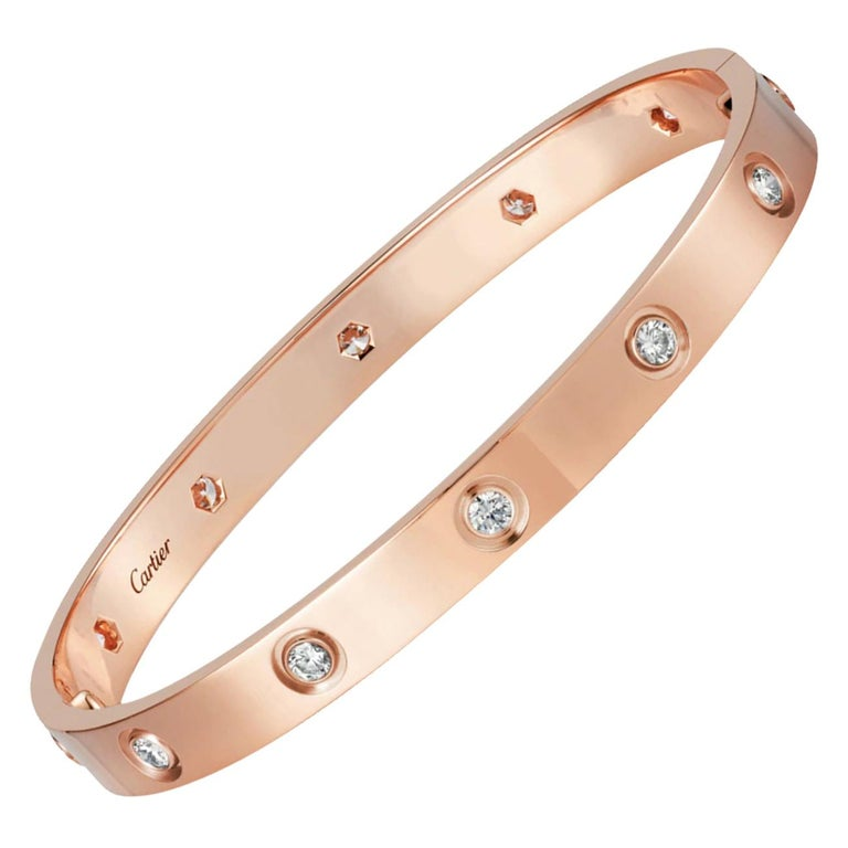 Cartier Love Bracelet 10 Diamond in 18 Karat Rose Gold For Sale