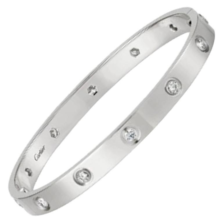 Cartier Love Bracelet 10 Diamond in 18 Karat White Gold For Sale