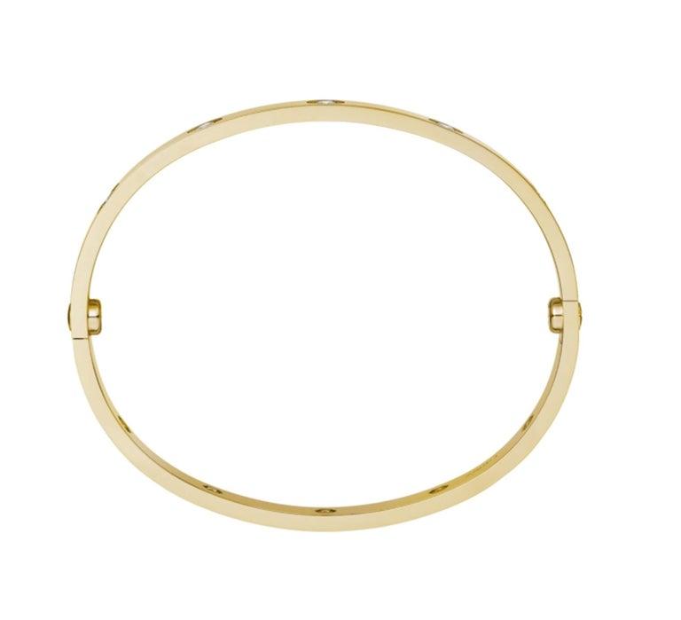 Round Cut Cartier Love Bracelet 10 Diamond in 18 Karat Yellow Gold For Sale