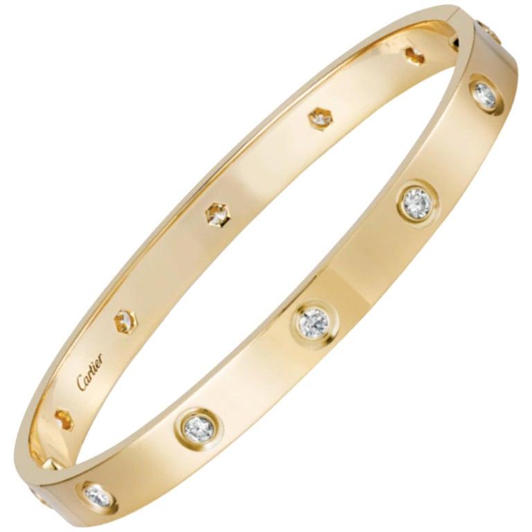 Cartier Love Bracelet 10 Diamond in 18 Karat Yellow Gold For Sale