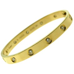 Cartier Love Bracelet 10 Diamonds in 18 Karat Yellow Gold, 'C-341'