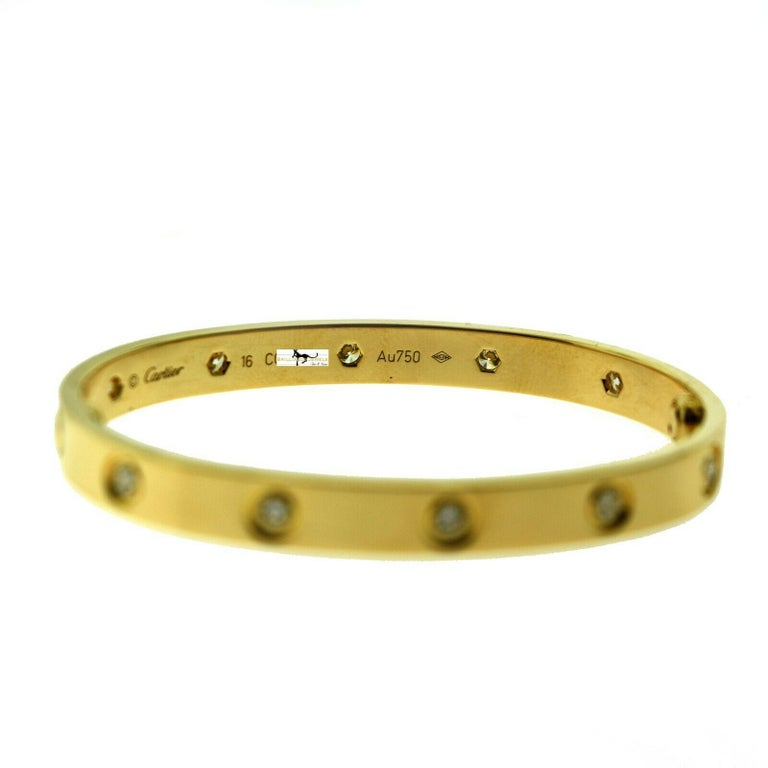 Cartier Love Bracelet 10 Diamonds in 18 Karat Yellow Gold, 'C-341' In Excellent Condition For Sale In Miami, FL
