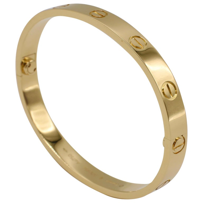 Cartier Love Bracelet 18 Karat Yellow Gold Box and Papers For Sale