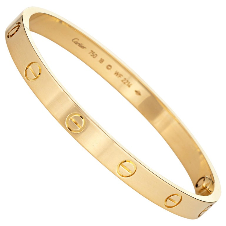 Cartier Love Bracelet 18 Karat Yellow Gold Pre Owned Signed New Screw System