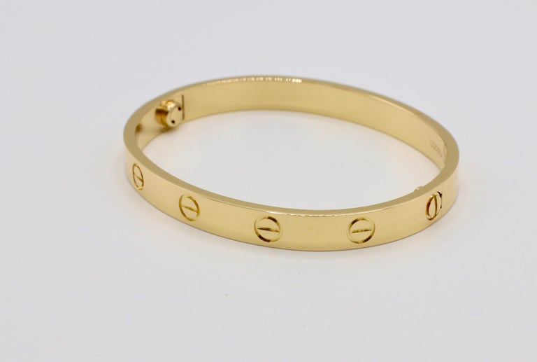 Modern Cartier Love Bracelet 18 Karat Yellow Gold Box and Papers For Sale