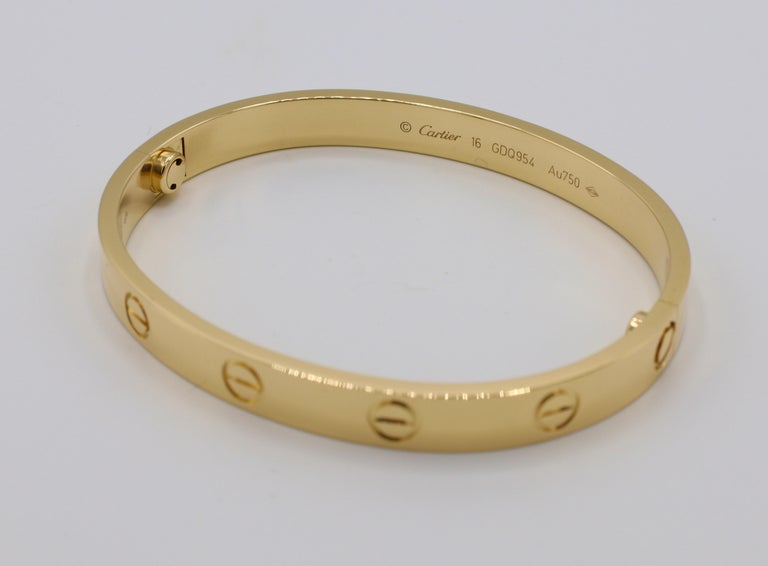 Cartier Love Bracelet 18 Karat Yellow Gold Box and Papers In Excellent Condition For Sale In  Baltimore, MD