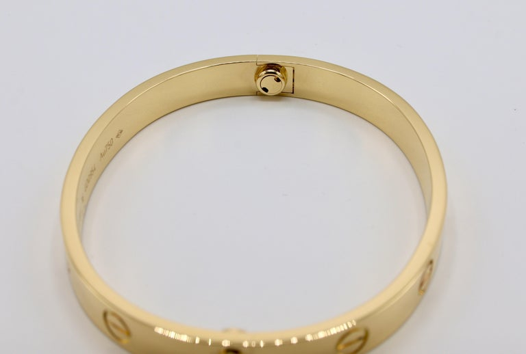 Cartier Love Bracelet 18 Karat Yellow Gold Box and Papers For Sale 1