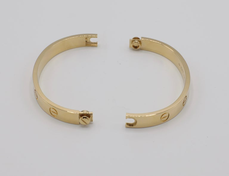 Cartier Love Bracelet 18 Karat Yellow Gold Box and Papers For Sale 3
