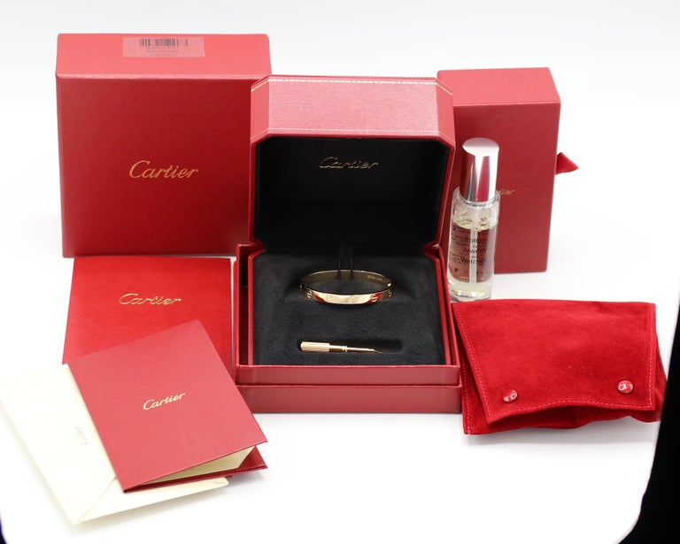 Cartier Love Bracelet 18 Karat Yellow Gold Box and Papers For Sale 4