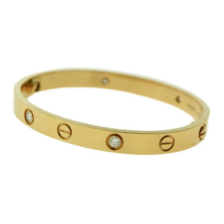 Cartier Love Bracelet 4 Diamond in 18 Karat Rose Gold, Certified 'C-354' For Sale