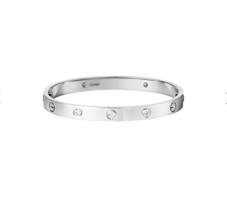 Cartier Love Bracelet 4 Diamond in 18 Karat White Gold For Sale 1