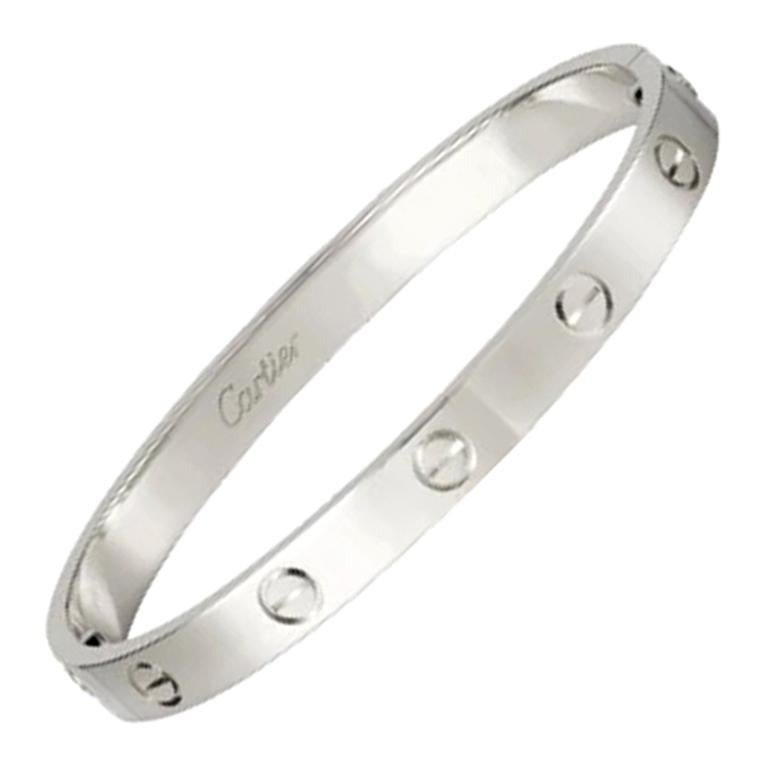 Cartier Love Bracelet 4 Diamond in 18 Karat White Gold For Sale