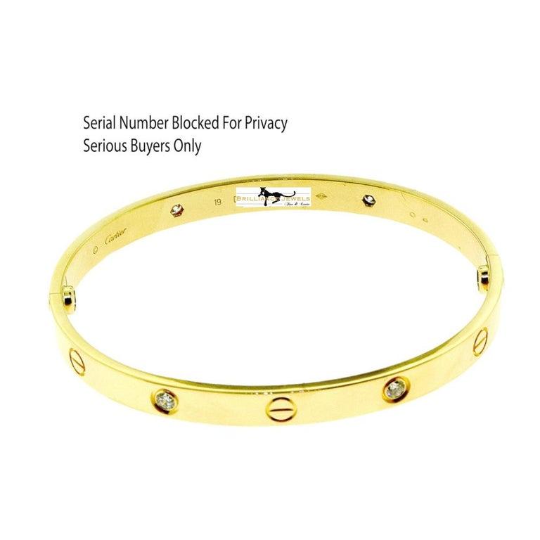 Designer: Cartier  Collection: Love  Style: Bangle Bracelet  Metal: Yellow Gold  Metal Purity: 18k  Stone: Round Brilliant Cut Diamonds  Total Carat Weight: 0.42 ct  Bracelet Size: 19 = 19 cm  Hallmarks: 19, Au750 Cartier, Serial
