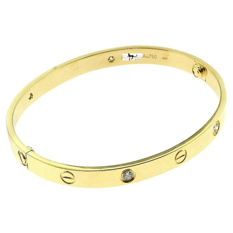 Cartier Love Bracelet 4 Diamond in 18 Karat Yellow Gold For Sale