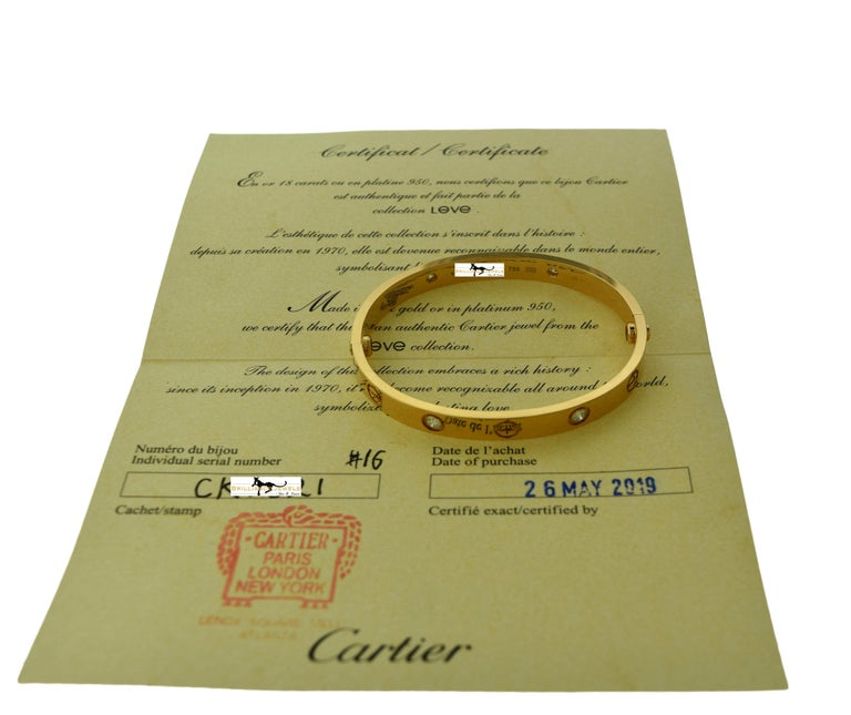 Women's or Men's Cartier Love Bracelet 4 Diamond in 18 Karat Rose Gold, Certified 'C-354' For Sale