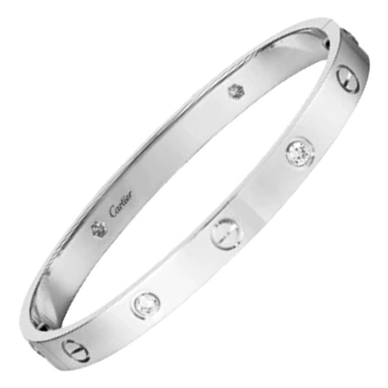 Cartier Love Bracelet 4 Diamonds in 18 Karat White Gold For Sale