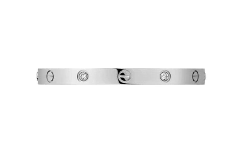 Round Cut Cartier Love Bracelet 4 Diamonds in 18 Karat White Gold For Sale