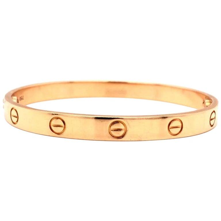 Cartier LOVE Bracelet 18 Karat Rose Gold Vintage with Screwdriver For Sale