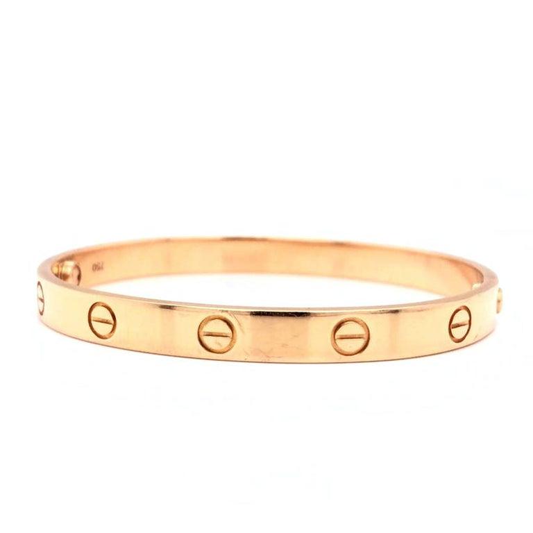 Romantic Cartier LOVE Bracelet 18 Karat Rose Gold Vintage with Screwdriver For Sale