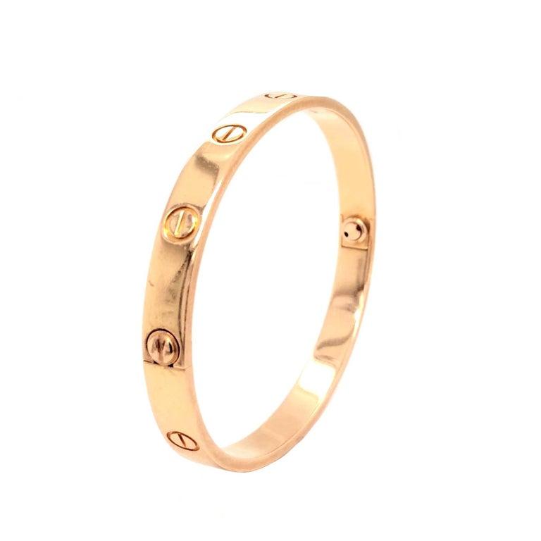 Cartier LOVE Bracelet 18 Karat Rose Gold Vintage with Screwdriver In Good Condition For Sale In Aventura, FL