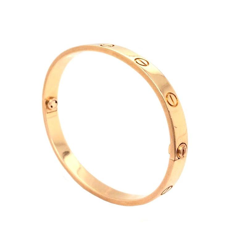 Women's or Men's Cartier LOVE Bracelet 18 Karat Rose Gold Vintage with Screwdriver For Sale