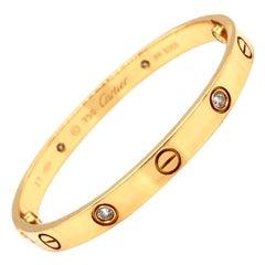 Cartier LOVE Bracelet 18K Yellow Gold 4 Brilliant Cut Diamonds with Screwdriver