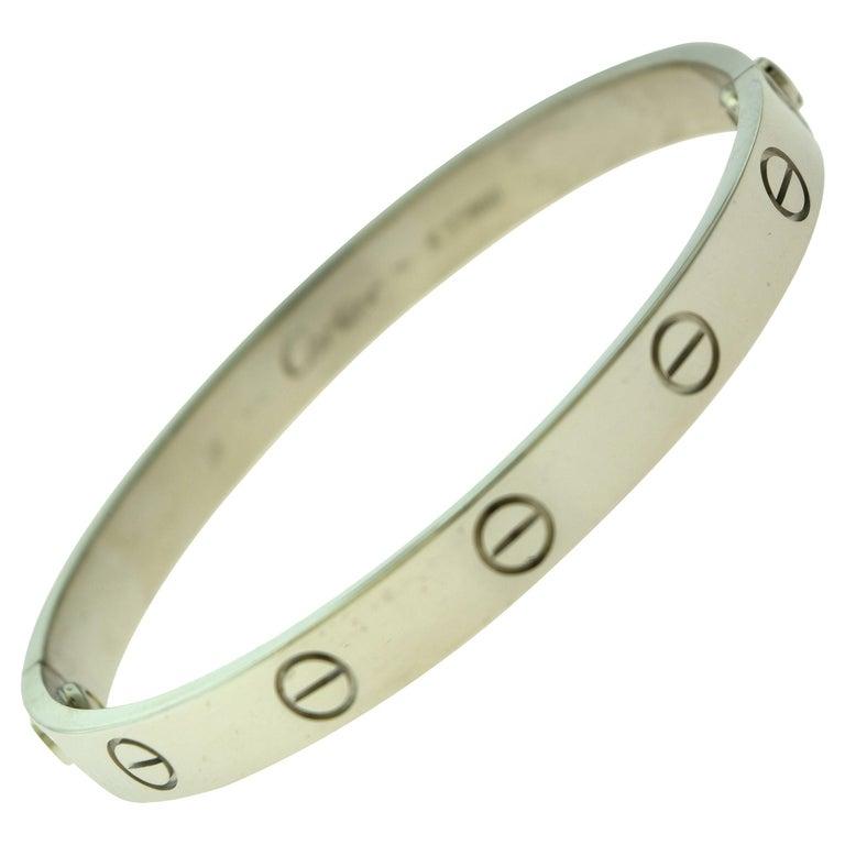 Cartier Love Bracelet Bangle in 18 Karat White Gold For Sale