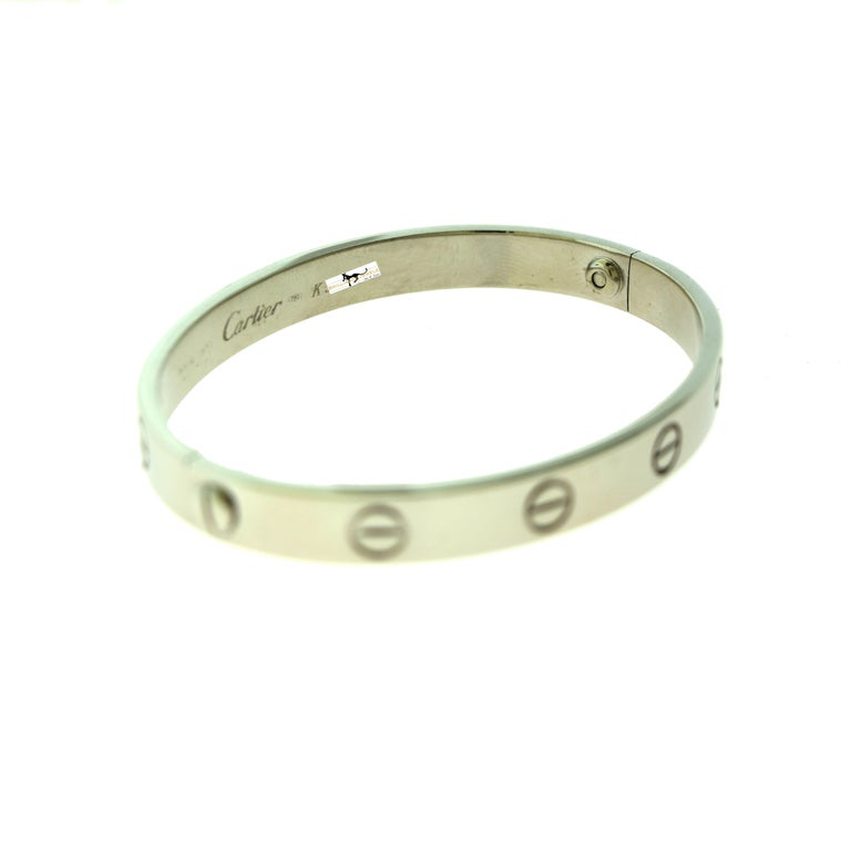 Women's or Men's Cartier Love Bracelet Bangle in 18 Karat White Gold For Sale