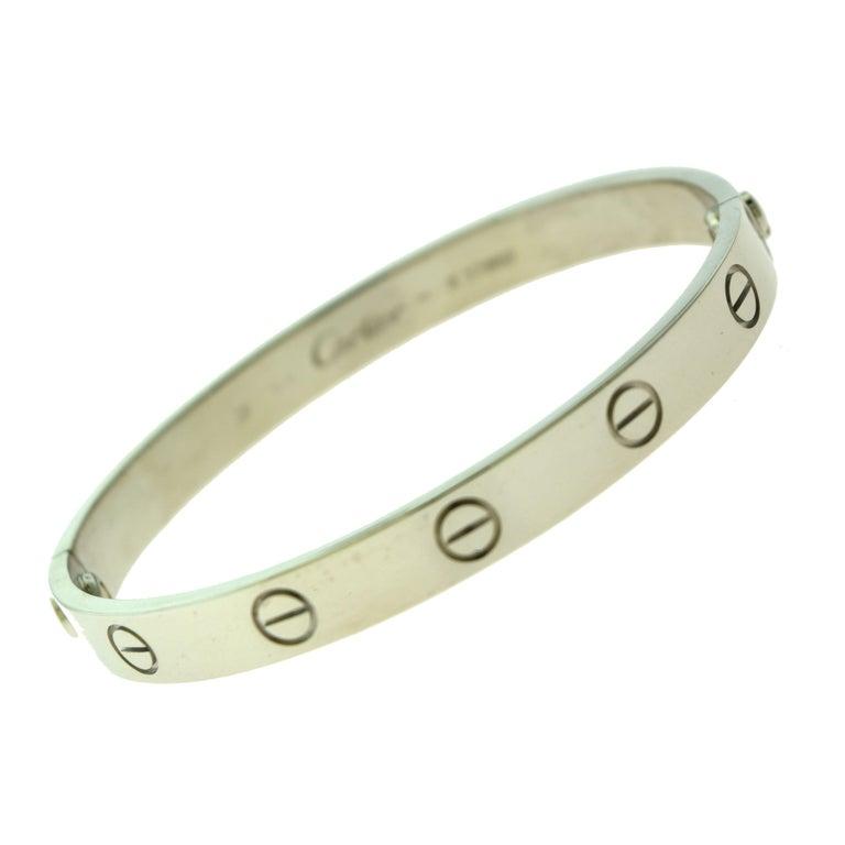 Cartier Love Bracelet Bangle in 18 Karat White Gold For Sale 1