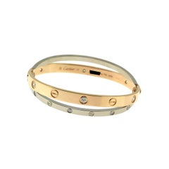 Cartier Love Bracelet in 18 Karat Rose and White Gold with Diamonds