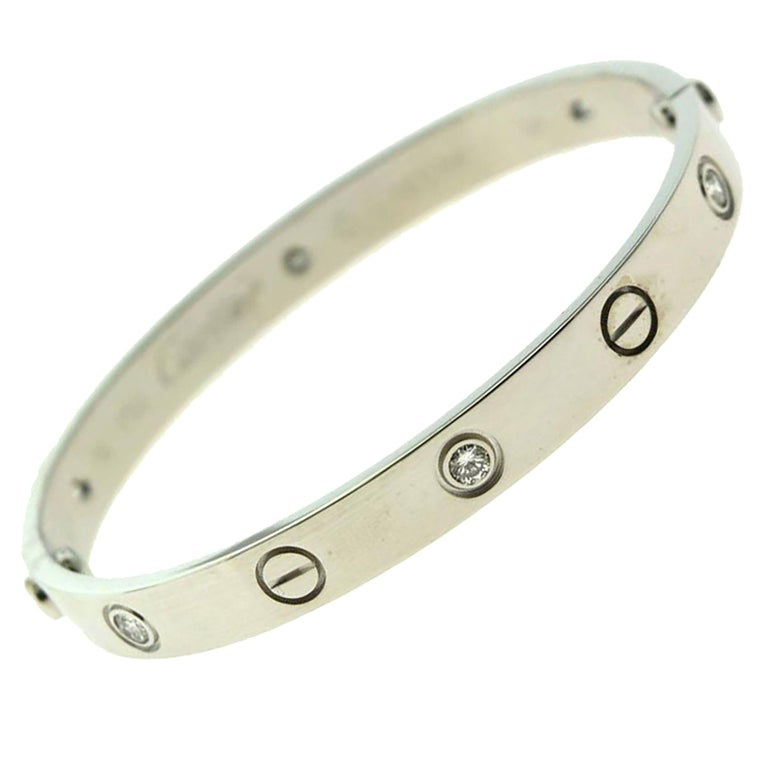 Cartier Love Bracelet in 18 Karat White Gold, 6 Diamonds Bracelet For Sale